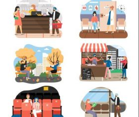 Daily social life cartoon vector