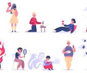 Daily troubles cartoon illustration vector