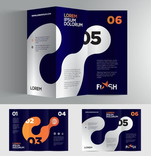 Dark blue company brochure vector