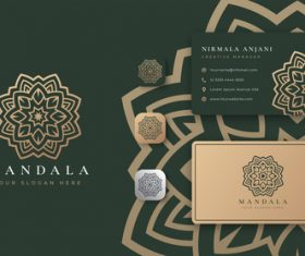 Dark green mandala logo company business card vector