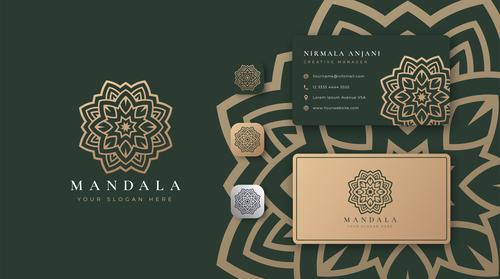 Dark green mandala logo company business card vector