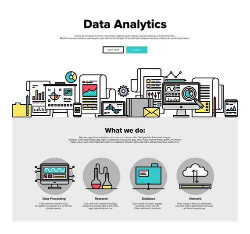 Data andlytics flat graphic vector concept