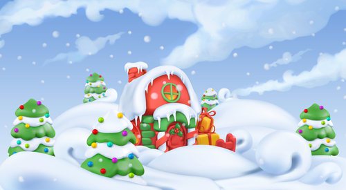 Decorated beautiful Christmas 3d illustration vector