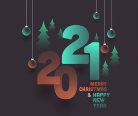 Decorative text with New Year 2021 colorful design vector