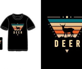 Deer T-shirt merchandise print vector