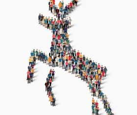 Deer shape crowd posing vector