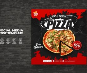 Delicious hot fresh pizza vector