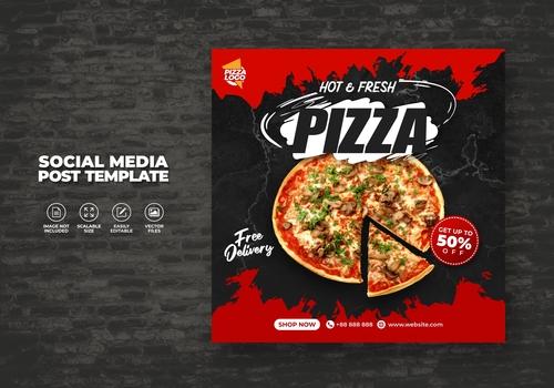 Delicious hot fresh pizza vector