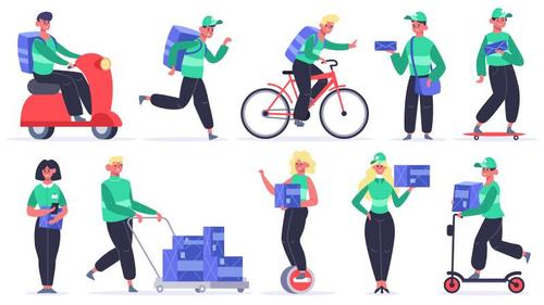 Delivery man cartoon illustration vector