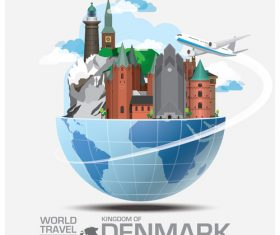 Denmark famous tourist attractions concept vector