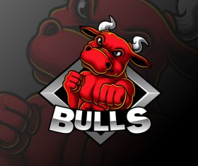 Design bulls esport icon vector