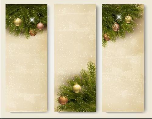 Design snowy christmas banner vector