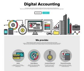 Digital accounting flat graphic concept vector