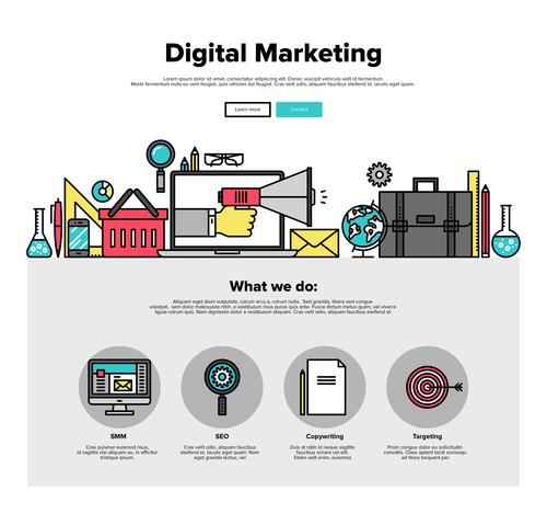 Digital marketing flat graphic concept vector