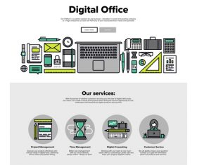 Digital office flat graphic concept vector