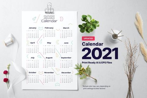 Directional calendar 2021 vector