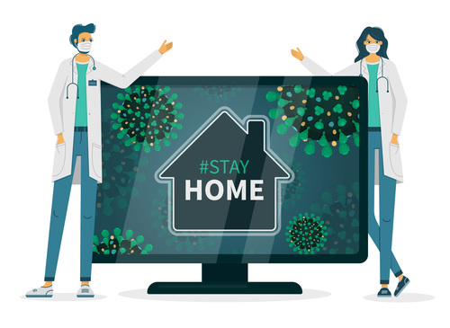 Doctor asks to stay home flyer vector