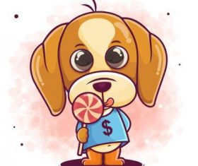 Dog cartoon icon vector holding lollipop