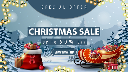 Dont miss Christmas half price promotion flyer vector