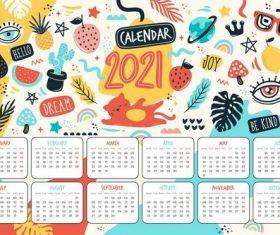 Doodle 2021 calendar vector