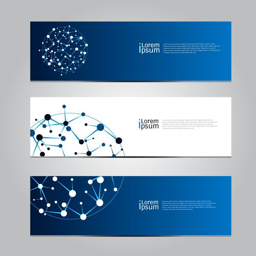 Dot line connection round ball banner vector