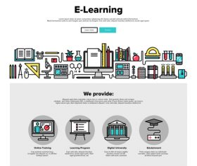 E-learning flat graphic concept vector