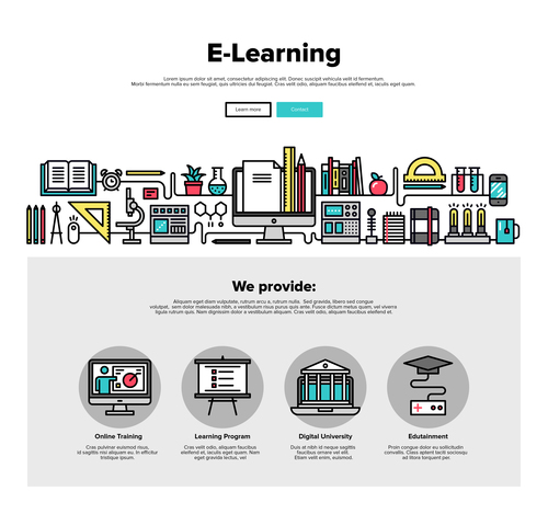 E learning flat graphic concept vector