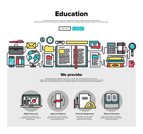 Education flat graphic concept vector