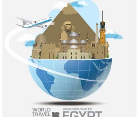 Egypt famous tourist attractions concept vector