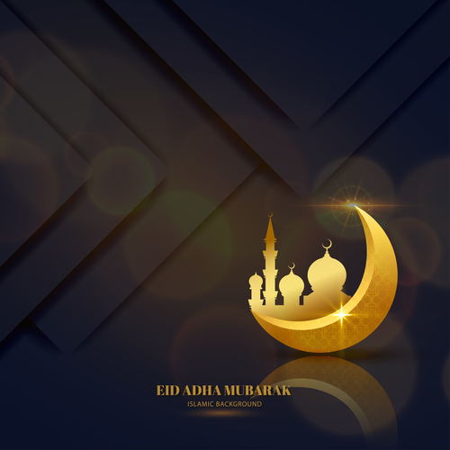 Eid ADHA mubarak golden pattern background vector