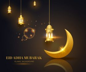 Eid ADHA mubarak islamic background vector