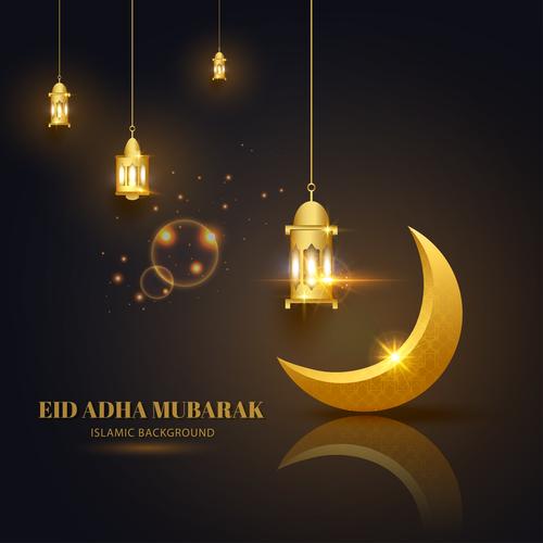 Eid ADHA mubarak islamic background vector
