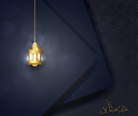 Eid mubarak greeting card vector with golden lamp on dark background