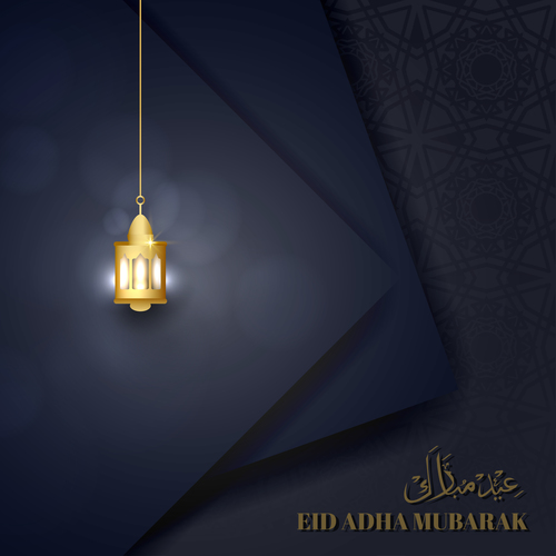 Eid mubarak greeting card vector with golden lamp on dark background