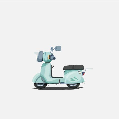 Electric motorcycle cartoon illustration vector
