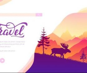 Elk and nature silhouette illustration vector
