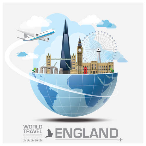 England famous tourist attractions concept vector