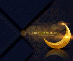 Exquisite Eid ADHA mubarak greeting card vector