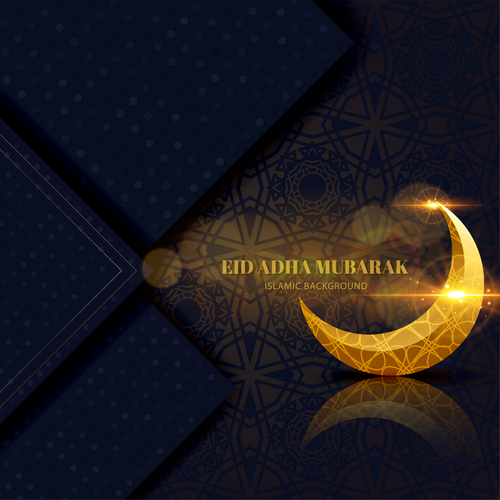 Exquisite Eid ADHA mubarak greeting card vector