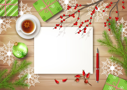 Exquisite greeting christmas card vector
