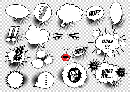 Face and white comic bubbles vector