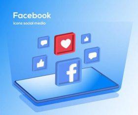 Facebook icons social media vector