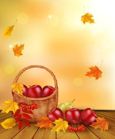 Fallen autumn leaves and apple vector