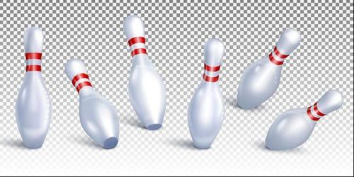 Falling down bowling wooden bottle vector