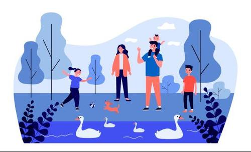 Family outing cartoon illustration vector