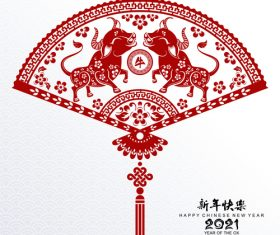 Fan shaped chinese 2021 ox year paper cut vector