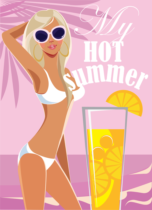 Fashion blonde girl in swimsuit on sea background, vector
