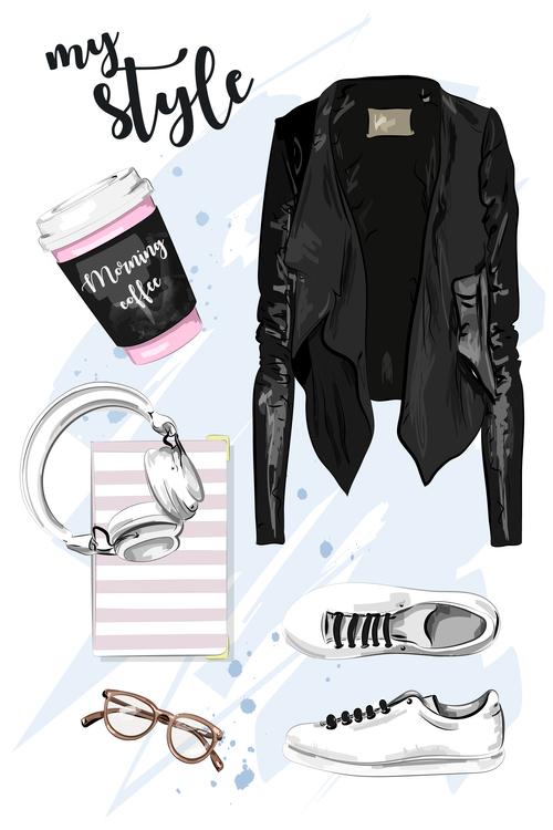 Fashion collocation watercolor illustration vector