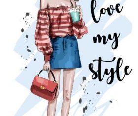 Fashion girl holding coffee vector