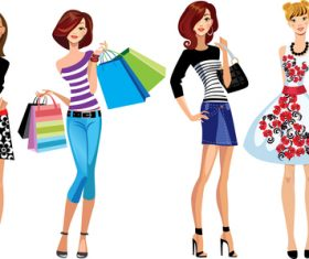 Fashion style shopping girl vector